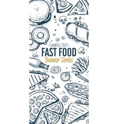 Fast food doodles vertical banner menu vector image
