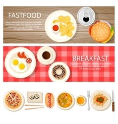 Fastfood Banners Set With Food Icons vector image