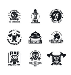Fire fighter logo icons set flat style vector