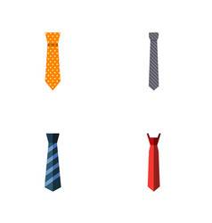 flat icon tie set of clothing collar cravat and vector image