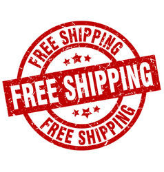 free shipping round red grunge stamp vector image