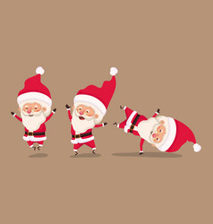 group of little santa claus characters vector image