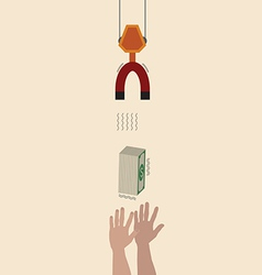 Hand reaching for money vector