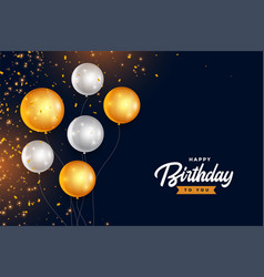 happy birthday golden and silver balloons with vector image