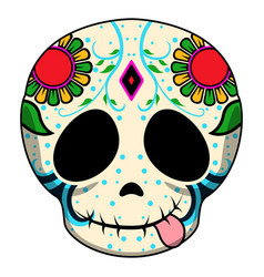 happy colored mexican skull cartoon vector image