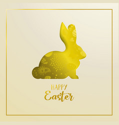 Happy easter card with golden cutout rabbit vector