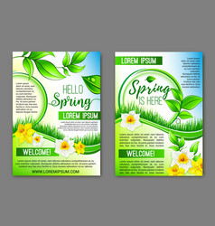 Hello spring flowers floral posters set vector