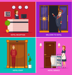 Hotel staff 2x2 design concept vector