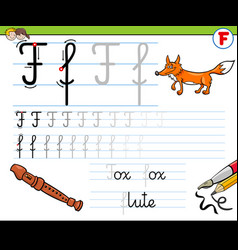 How to write letter f workbook for children vector