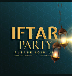 Iftar party invitation card design with hanging vector