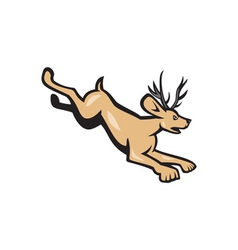Jackalope Jumping Side Cartoon vector