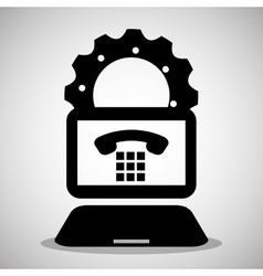 laptop gear technology communication telephone vector image