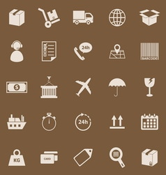 Logistics color icons on brown background vector