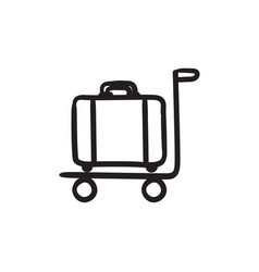 Luggage on trolley sketch icon vector