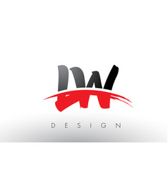 Lw l w brush logo letters with red and black vector