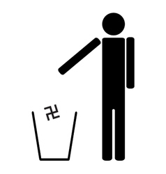Man throws in the trash Nazi swastika vector