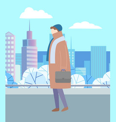 man walking in city park alone urban landscape vector image