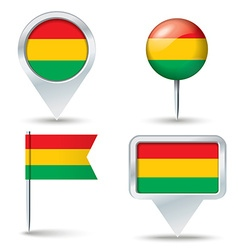 Map pins with flag of Bolivia vector