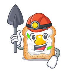 Miner sandwich with egg above character board vector