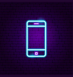 Mobile phone neon label vector