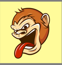 Monkey chimp ape head mascot in cartoon style vector