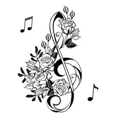 musical clef with outline roses vector image