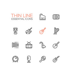 musical instruments - line icons set vector image