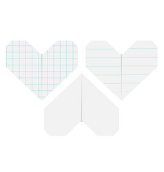 Notebook squared lined paper heart icon set vector