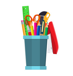 pen holder office equipment vector image