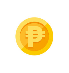 Philippine peso currency symbol on gold coin flat vector