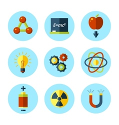 physics icon set in modern flat style vector image