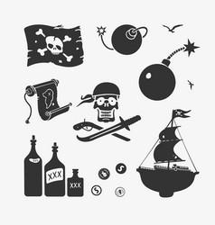 pirate symbols set vector image