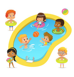 pool party characters multiracial boys and girls vector image