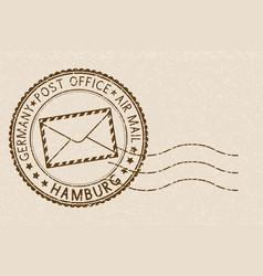 Postmark round brown stamp on beige background vector
