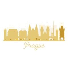 Prague city skyline golden silhouette vector