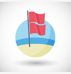 Red over red beach flag flat icon vector