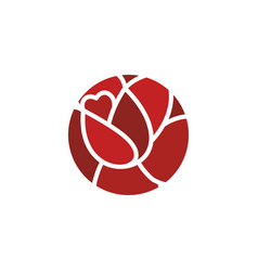Rose logo flower emblem flowers shop symbol vector