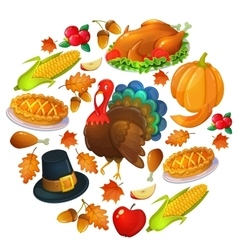 Round template with Thanksgiving icons vector image