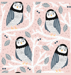seamless pattern with owls on trees creative vector image