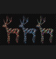 set christmas deers vector image