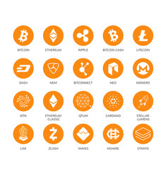 set cryptocurrency icons top 20 signs vector image