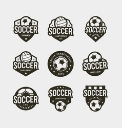 set football soccer logos sport emblems vector image