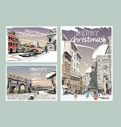 set italy merry christmas and new year cards vector image
