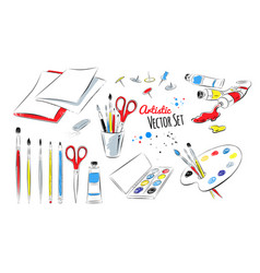Set of artists supplies vector