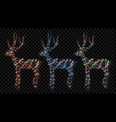 set of christmas deers vector image