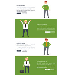 set of designs for web page with businessman vector image
