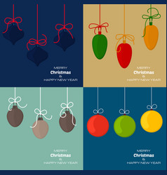 set of four christmas and new year backgrounds vector image