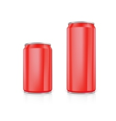 Set of red blank aluminium cans vector image