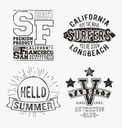 set of various vintage stamp vector image