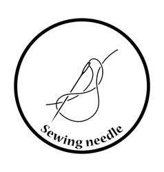 Sewing needle with thread icon vector